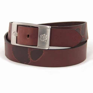 Clemson Brown Leather Brandished Belt