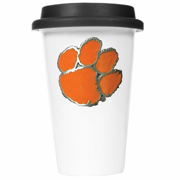 Clemson Ceramic Travel Cup (Black Lid)