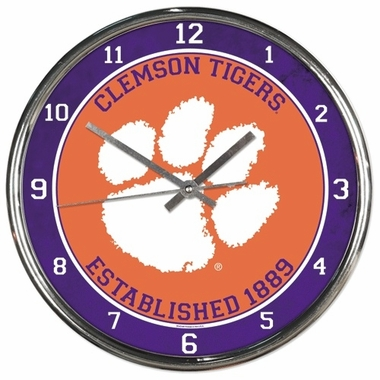 Clemson Chrome Clock