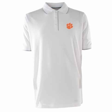 Clemson Mens Elite Polo Shirt (Color: White)