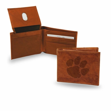 Clemson Embossed Leather Bifold Wallet