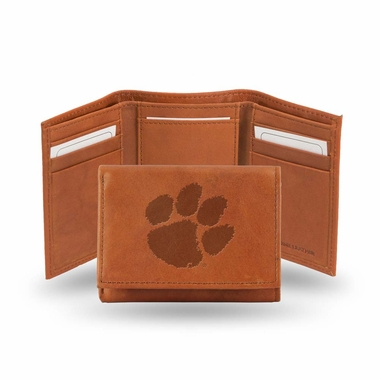 Clemson Embossed Leather Trifold Wallet