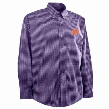 Clemson Mens Esteem Button Down Dress Shirt (Team Color: Purple)