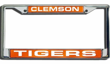 Clemson Laser Etched Chrome License Plate Frame