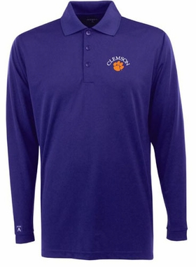 Clemson Mens Long Sleeve Polo Shirt (Team Color: Purple)