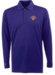 Clemson Mens Long Sleeve Polo Shirt (Color: Purple) - Small