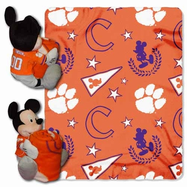 Clemson Mickey Mouse Pillow / Throw Combo