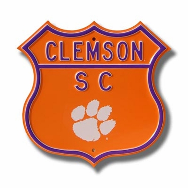 """Clemson / """"Paw"""" logo Route Sign"""