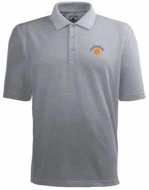 Clemson Mens Pique Xtra Lite Polo Shirt (Color: Gray)