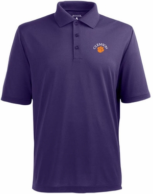 Clemson Mens Pique Xtra Lite Polo Shirt (Team Color: Purple)