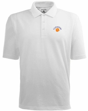Clemson Mens Pique Xtra Lite Polo Shirt (Color: White)