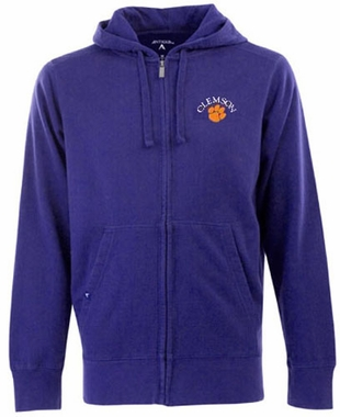 Clemson Mens Signature Full Zip Hooded Sweatshirt (Color: Purple)