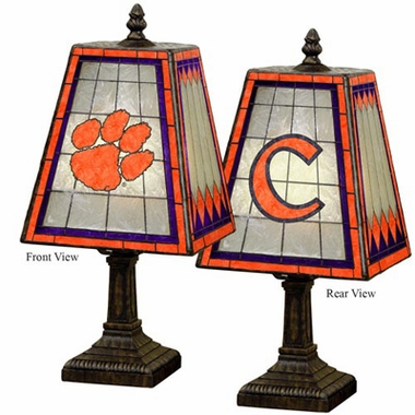 Clemson Small Art Glass Lamp