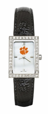 Clemson Women's Black Leather Strap Allure Watch