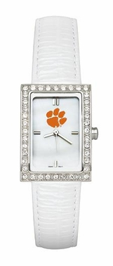 Clemson Women's White Leather Strap Allure Watch