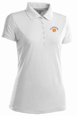 Clemson Womens Pique Xtra Lite Polo Shirt (Color: White)