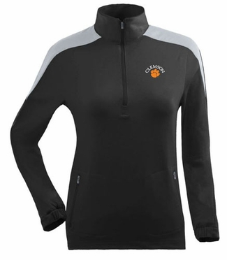 Clemson Womens Succeed 1/4 Zip Performance Pullover (Team Color: Black)