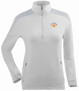 Clemson Womens Succeed 1/4 Zip Performance Pullover (Color: White)