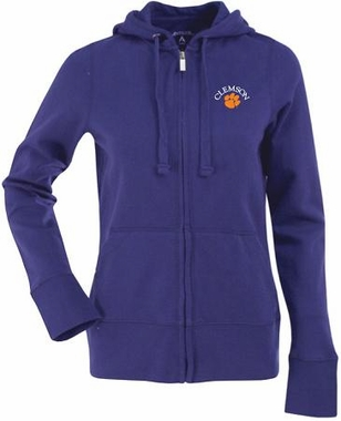 Clemson Womens Zip Front Hoody Sweatshirt (Color: Purple)