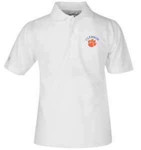 Clemson YOUTH Unisex Pique Polo Shirt (Color: White) - Large