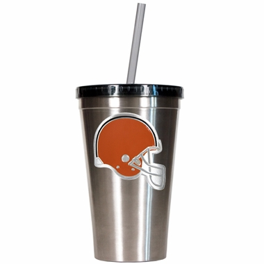 Cleveland Browns 16oz Stainless Steel Insulated Tumbler with Straw