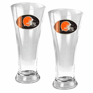 Cleveland Browns 2 Piece Pilsner Glass Set