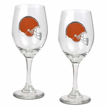 Cleveland Browns 2 Piece Wine Glass Set