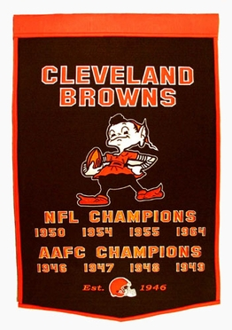 """Cleveland Browns 24""""x36"""" Dynasty Wool Banner"""