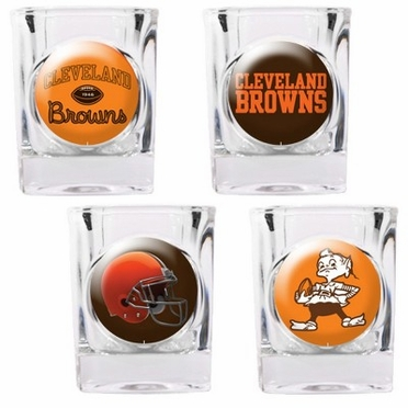 Cleveland Browns 4 Piece Assorted Shot Glass Set