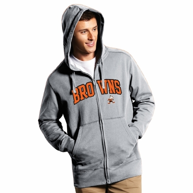 Cleveland Browns Mens Applique Full Zip Hooded Sweatshirt (Color: Gray)