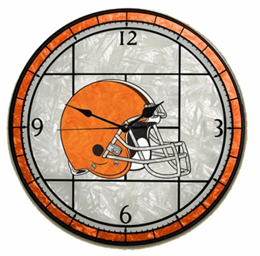 Cleveland Browns Art Glass Clock