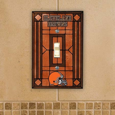 Cleveland Browns Art Glass Lightswitch Cover