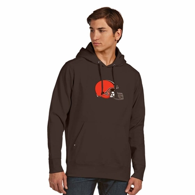 Cleveland Browns Big Logo Mens Signature Hooded Sweatshirt (Color: Brown)