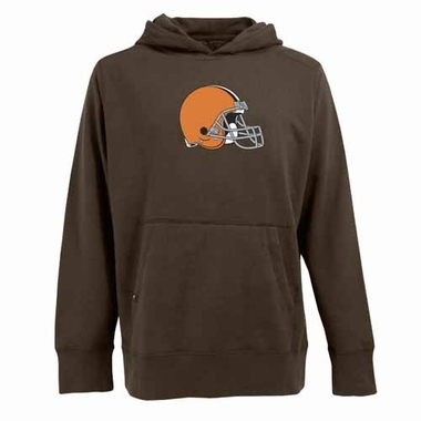Cleveland Browns Big Logo Mens Signature Hooded Sweatshirt (Team Color: Brown)