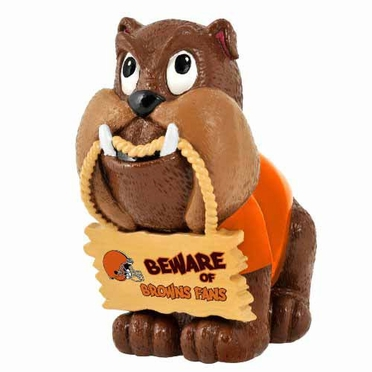 Cleveland Browns Bulldog Holding Sign Figurine