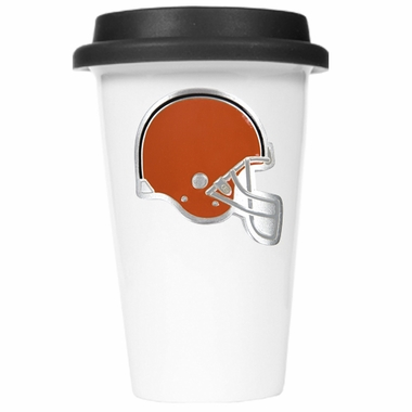 Cleveland Browns Ceramic Travel Cup (Black Lid)
