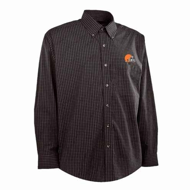 Cleveland Browns Mens Esteem Check Pattern Button Down Dress Shirt (Team Color: Brown)