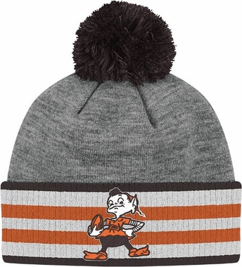 Cleveland Browns Jersey Stripe Vintage Cuffed Pom Hat (Grey)