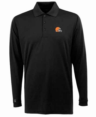 Cleveland Browns Mens Long Sleeve Polo Shirt (Team Color: Black)