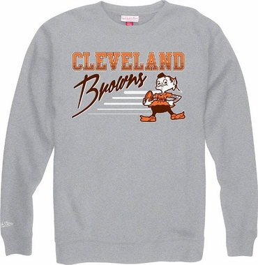 Cleveland Browns Mitchell & Ness NFL Throwback Crew Sweatshirt - Gray