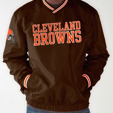 Cleveland Browns NFL Match-Up Wordmark Pullover Embroidered Jacket - Brown