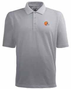 Cleveland Browns Mens Pique Xtra Lite Polo Shirt (Color: Gray) - Large