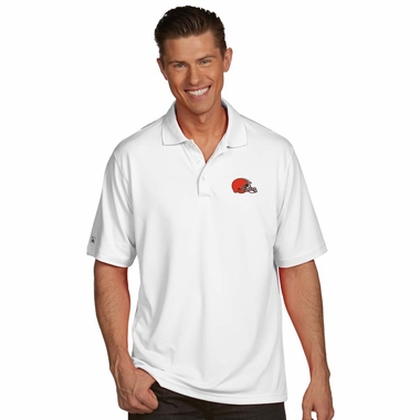 Cleveland Browns Mens Pique Xtra Lite Polo Shirt (Color: White)