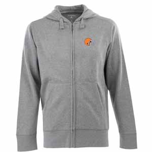 Cleveland Browns Mens Signature Full Zip Hooded Sweatshirt (Color: Gray) - X-Large