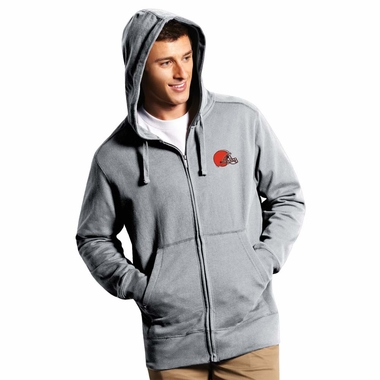 Cleveland Browns Mens Signature Full Zip Hooded Sweatshirt (Color: Gray) - XXX-Large