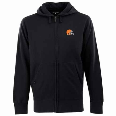 Cleveland Browns Mens Signature Full Zip Hooded Sweatshirt (Team Color: Black)