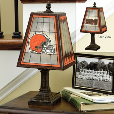 Cleveland Browns Small Art Glass Lamp