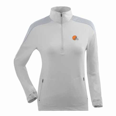 Cleveland Browns Womens Succeed 1/4 Zip Performance Pullover (Color: White)