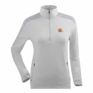 Cleveland Browns Womens Succeed 1/4 Zip Performance Pullover (Color: White) - Small