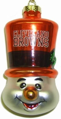Cleveland Browns Tophat Snowman Glass Ornament